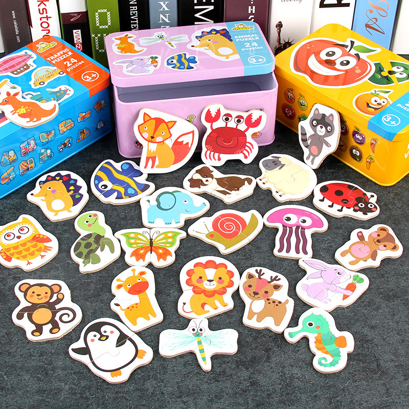Wooden Learning Card Puzzles Toy Early Educational Toy Cartoon Traffic Animal Fruit With Iron Box Matching Game Toys For Kids