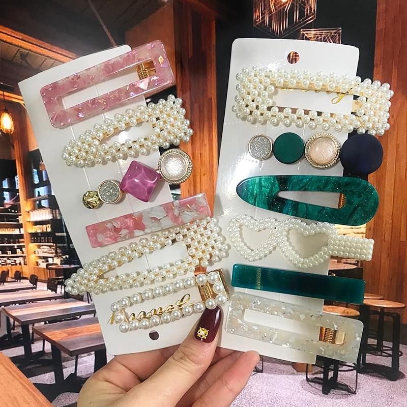 Acrylic Barrettes Pearl Hair Clip Sets For Women Fashion Simple Geometric Hairpins Hair Accessories Headdress Girl Bobby Clip