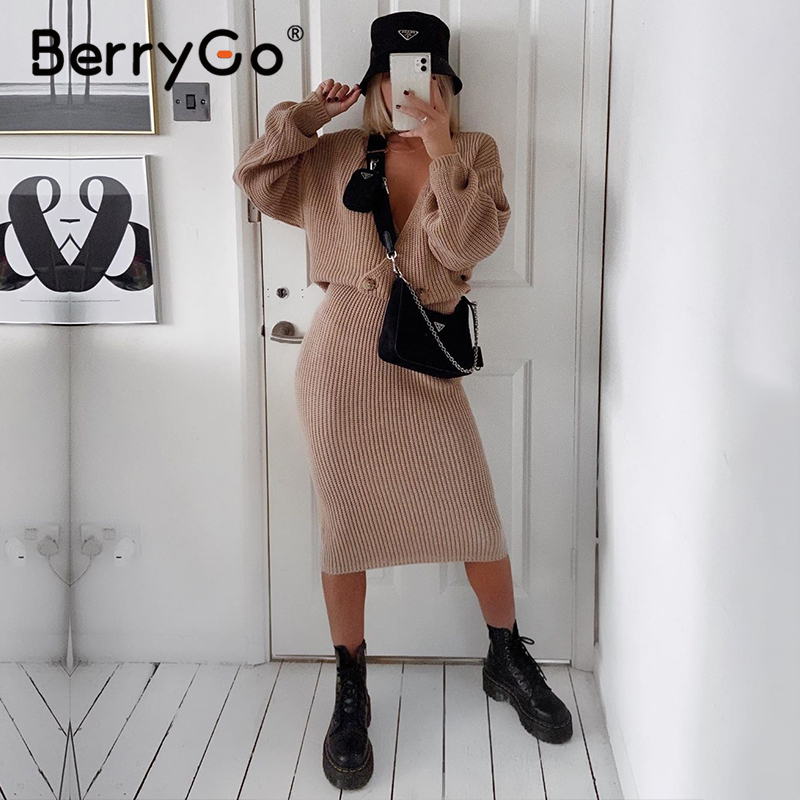 BerryGo Sexy v-neck women knitted dress elegant Autumn winter two piece dress set Club party chic female sweater dress vestidos