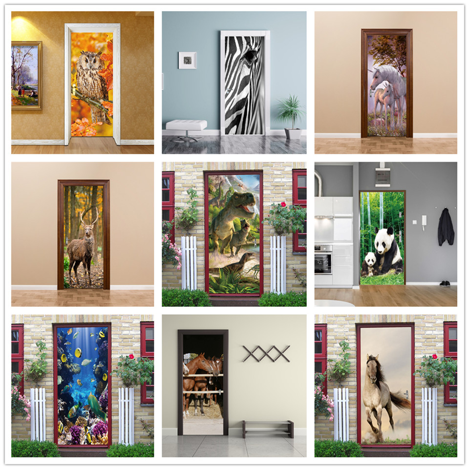 3D View Animals Door Sticker Vinyl Self Adhesive Waterproof Removable Poster Dinosaur Giraffe Mural Decal Home Design Deurposter