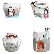 Cartoon Antarctic Penguins Series Succulents Flower Pot Gardening Planters Cactus Succulent Flower Home Decoration Pen Holder