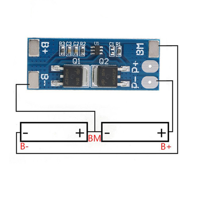 7.4v 8.4v 2s 8a Li-ion 18650 Bms 2s Pcm 15A Peak Current Battery Protection Board Bms Pcm For Li-ion Lipo Battery Cell Pack