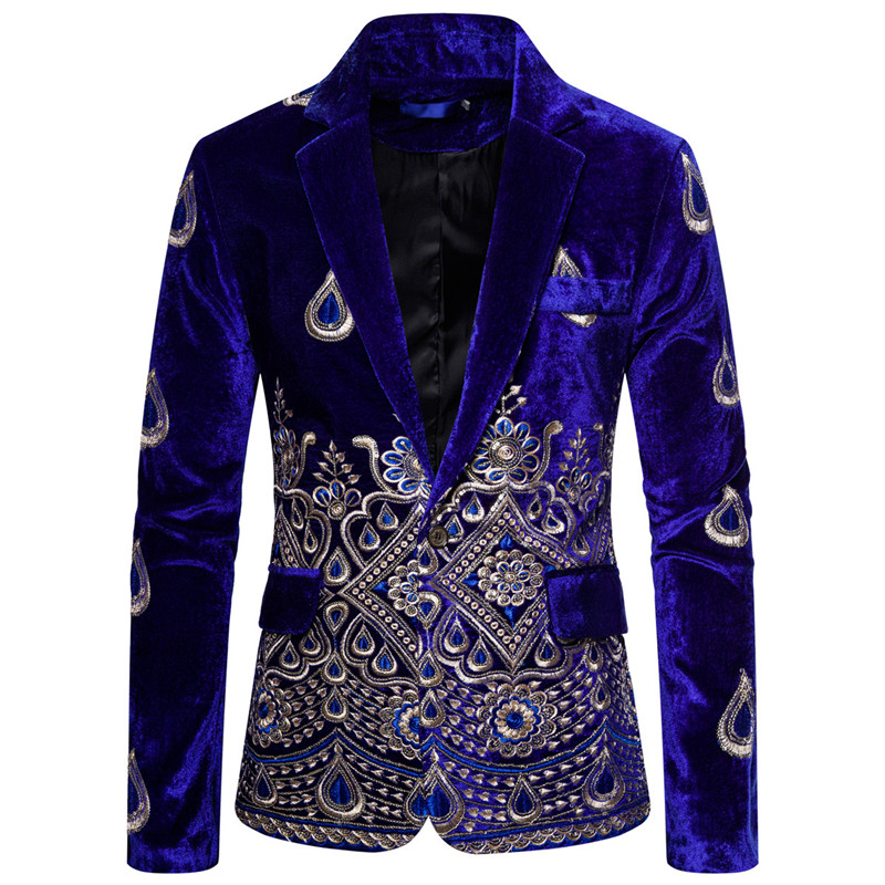 Fashion Floral Embroideried Men Wedding Suits Velvet Blazers Party Tuxedo Formal Groom Slim Fit Suit Singer Stage Suit Jackets