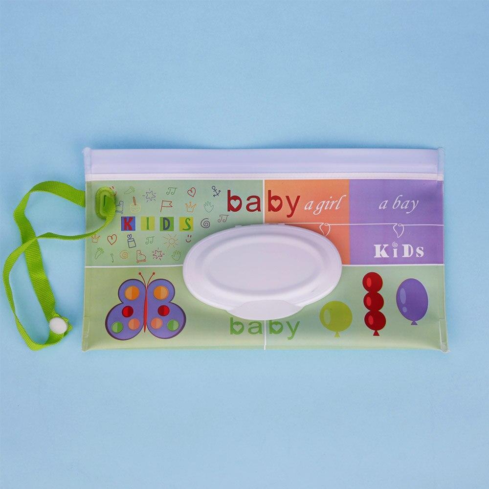 Quaslover Экологичная коробка для детских салфеток, коробка для влажных салфеток, чистящие салфетки, сумка для переноски, чехол-раскладушка с ремнем - Цвет: B