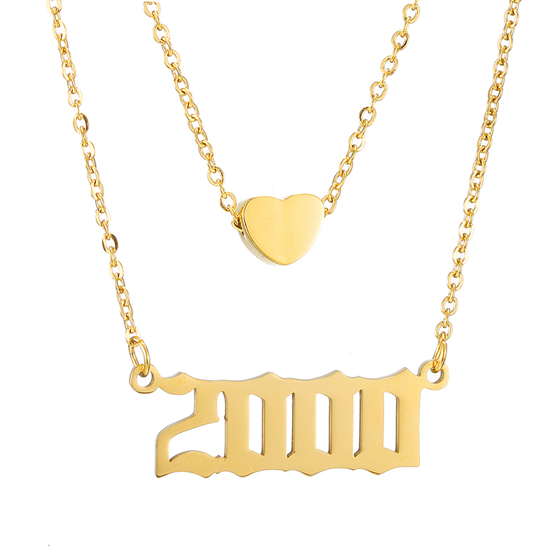 Personalized 2 Layered Necklace Heart Number Necklaces Women Custom Year 1991 1992 1995 1997 1999 2000 2008 2019 Birthday Gift image