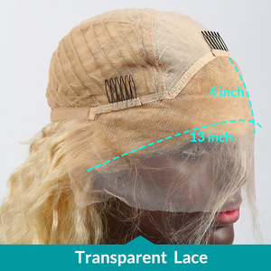 Image 5 - Rosabeauty Deep Wave Transparent 613 Blonde Brazilian 13x4 Lace Front Human Hair Wig PrePlucked Remy Frontal Wigs 150 Density