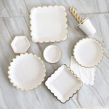Vajilla desechable blanca para fiesta, plato de papel dorado, taza con pajita, decoración para fiesta de primer cumpleaños, boda, suministros para fiesta de Baby Shower