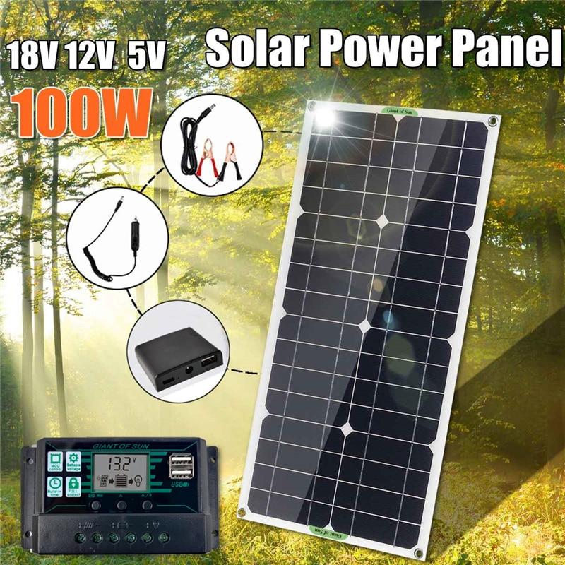 18v 100w painel solar ao ar livre carga rapida carregador de bateria placa com 10a 20a