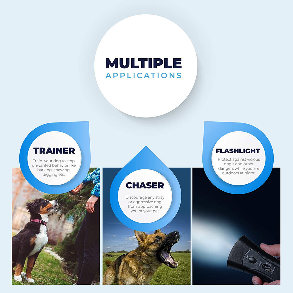 Pet Dog Repeller Anti Barking Stop Bark Training Device Trainer LED Ultrasonic Anti Barking Ultrasonic Without Battery-3
