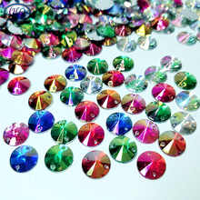 HL 200pcs 12mm  Round Acrylic Sew-On Rhinestones Garment Shoes Bags Sewing Accessories DIY Crafts