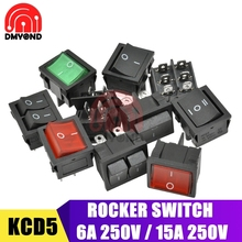 цена на 10pcs Rocker Switch 2/3 Position ON-OFF/ON-OFF-ON 6A 15A 250V 4/6Pin 21*24MM Boat Power Switch Push Button With LED