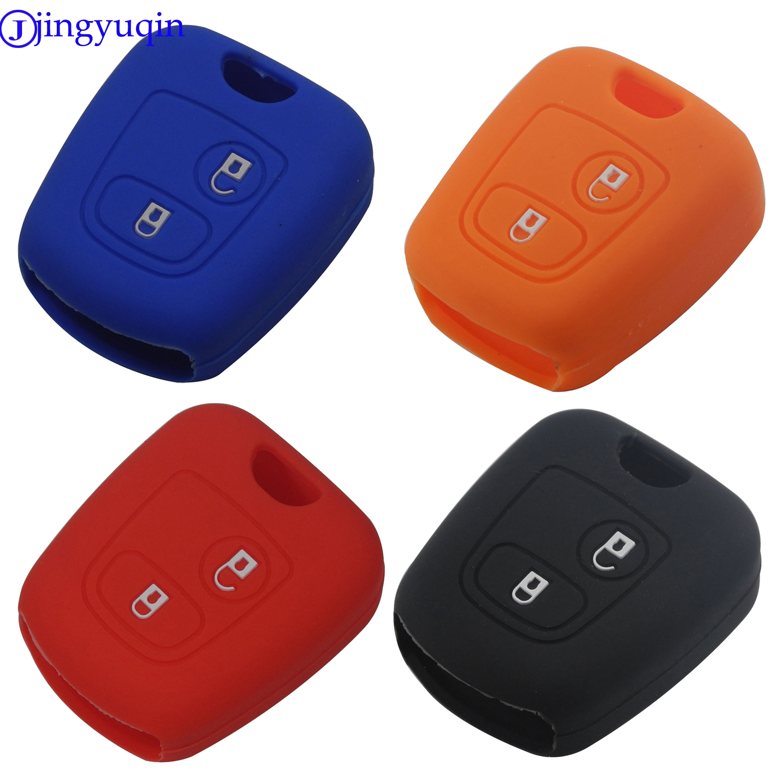 jingyuqin New Remote Car Key Silicone Rubber Case Cover For Peugeot 107 206 307 207 408 Key Protector Holder Shell 2 Buttons image
