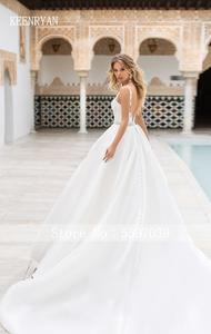 Image 2 - Nova chegada sexy a linha de cetim vestido de casamento 2020 v neck rendas até ilusão vestido de noiva vestido de novia plus size