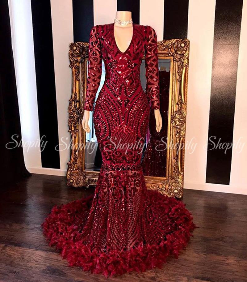 Long Mermaid Prom Dresses 2020 Elegant V-neck Burgundy Feather And Sequin African Black Girl Prom Dress