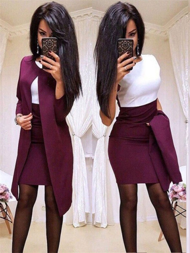 Elegant Women Set For Office Lady Pure Color Patchwork Design Casual O-Collar Slim Autumn/Winter Women Dress 2 Piece Set