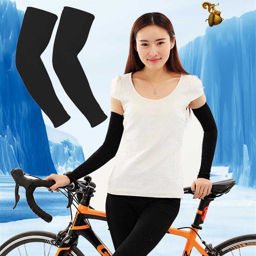 1Pair Unisex Sport Arm Sleeves UV Sun Protect Anti-slip Basketball Armband Tattoo Cover Men Women Ice Silk Summer Cool Arm Cuff