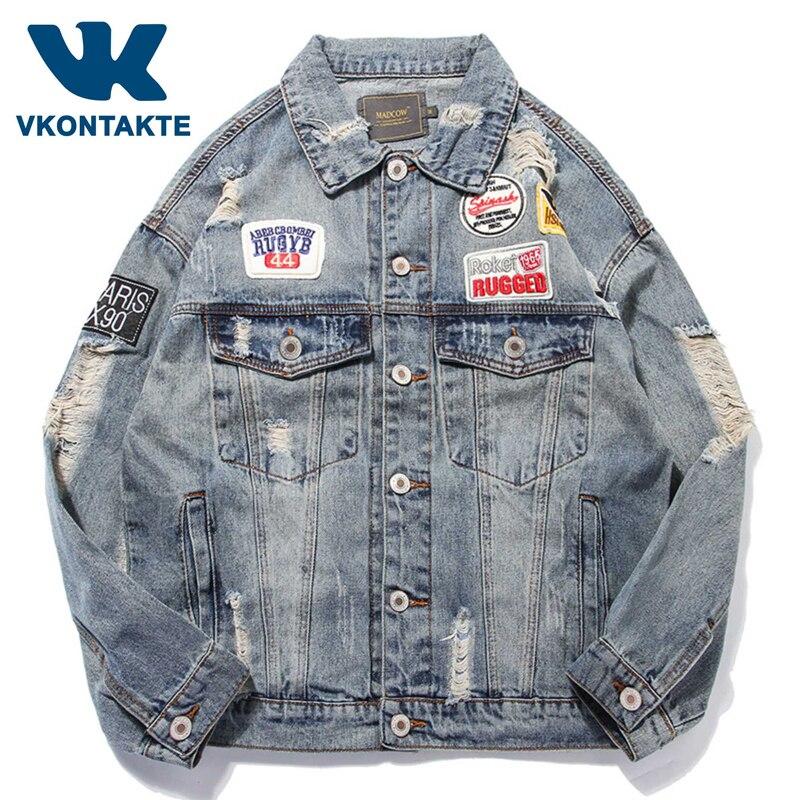 Hommes déchiré trous Vintage Jeans veste drapeau lettres Patch Design peint Denim manteau 2019 Streetwear coton mode Windbreake