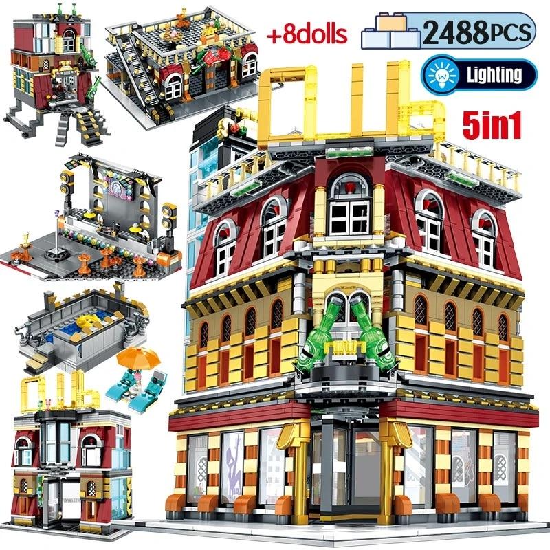 2488PCS Night Club Light Pub Party Toy City Building Blocks Bricks Figure Set