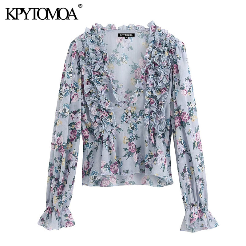 KPYTOMOA Women 2020 Fashion Floral Print Ruffled Blouses Vintage V Neck Long Sleeve See Through Female Shirts Blusas Chic Tops