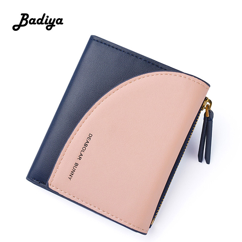 Brief Women Wallets Personlity Short Patchwork Contrast Color Zipper Purse Multi-card Position Ladies Card Holder Clutch Bag