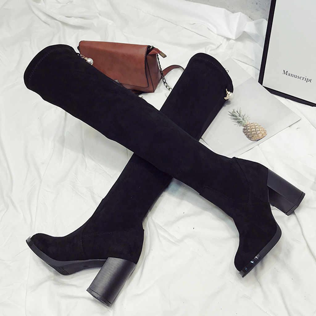 Seksi dantel Up diz çizmeler üzerinde kadın çizmeler kadın süet ayakkabı kadın kare Joker ile uzun çizmeler kış uyluk yüksek çizmeler 35-39