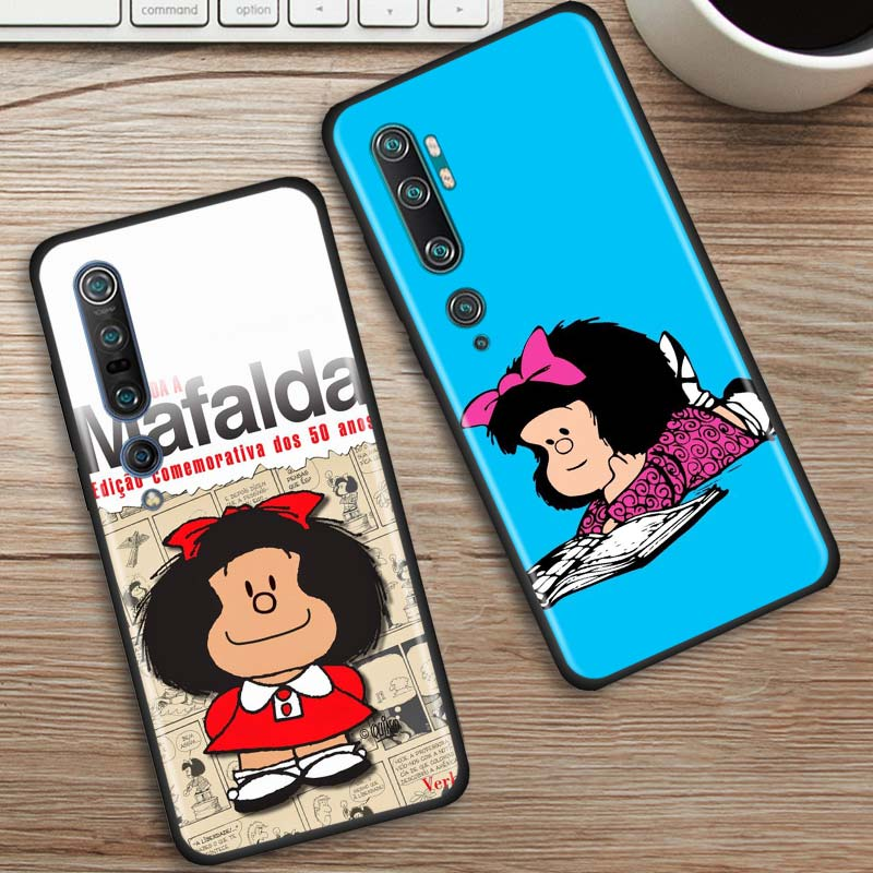 Mafalda Case For Xiaomi Mi Note 10 9 9T Pro 5G CC9 CC9E 8 A3 A2 Lite Poco X2 F1 Black Soft Phone Cover Bags