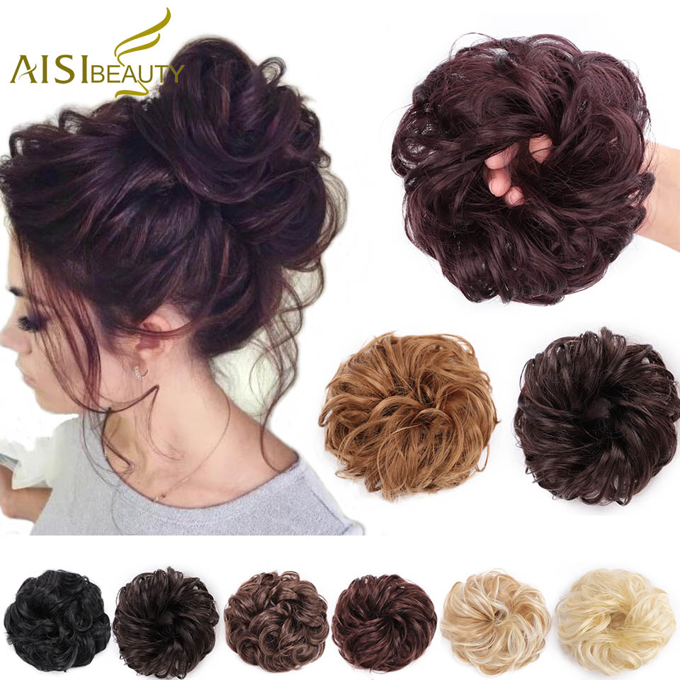 AISI BEAUTY Synthetic Hair Chignon Donut Black Brown Curly Hair Bun Pad Chignon Elastic Hair Rope Rubber Band Hair Extens