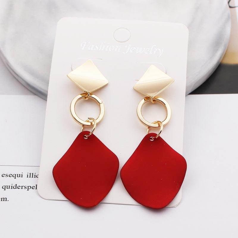 2020 New Design Red Black Gold Color Drop Earrings For Women Party Punk Creative Asymmetrical Metal Earrings Trendy Boho Jewelry