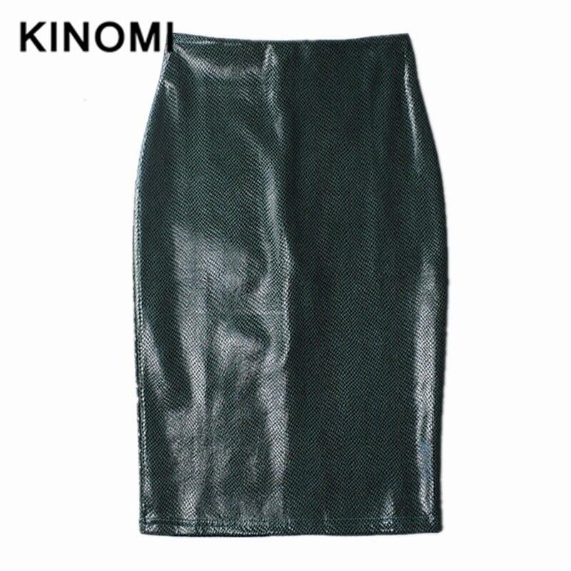 KINOMI Autumn Winter Green PU Leather Elegant Pencil Midi Skirts High Waist Snake Print Sheath Sexy Wrap Skirts Ladies 2019 New
