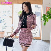 2019 Korean version of the autumn bow short coat + slim skirt Tweed  Knee-Length  Three Quarter  Single Breasted