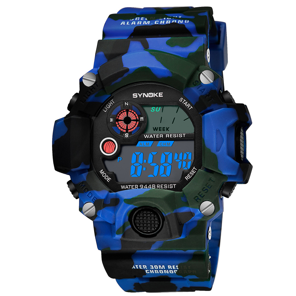 Men Women Wrist Watch Digital Fabala ABS Electronic Watch UV Camouflage Military Watches Casual Sport Waterproof Multifunctional