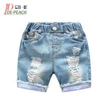New Baby Boys Holes Jeans Shorts Pants Kids Summer Light Blue Denim Shorts For Boy Elastic Waist Cotton Children Clothing, 2-6Y
