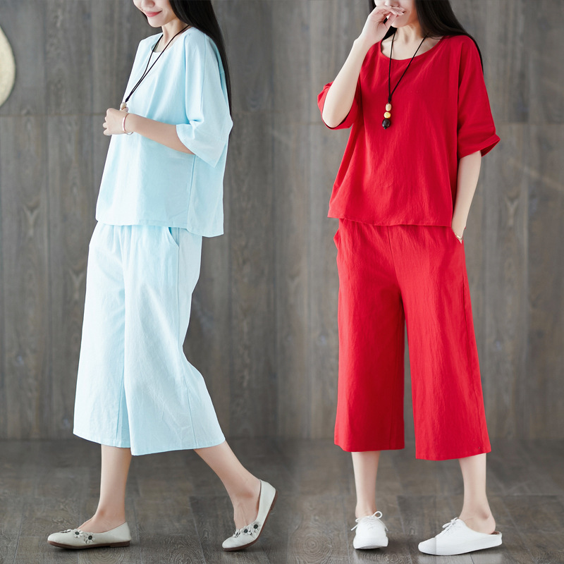 Cotton Linen WOMEN'S Suit 2019 Summer New Style Korean-style Loose Casual Fashion Flax Elegant Two-Piece Set