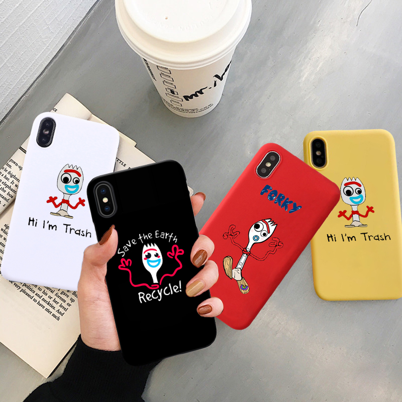 GYKZ Cartoon Forky Phone Case For <font><b>iPhone</b></font> 7 11 Pro X XS MAX XR 8 <font><b>6</b></font> 6s Plus Funny <font><b>Toy</b></font> <font><b>Story</b></font> Soft Silicone Back Cover Letter <font><b>Fundas</b></font> image