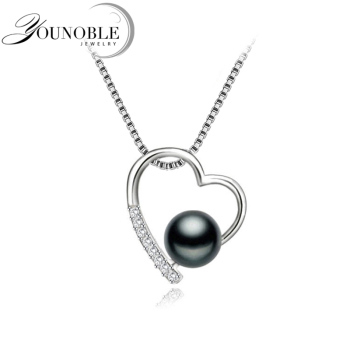 Wedding 925 Sterling Silver Pendant Women,Trendy Freshwater Natural Black Pearl Pendant Necklace Girl Gift 925 sterling silver jewelry sets natural freshwater pearl drop earrings trendy pendant chain necklaces for women girl