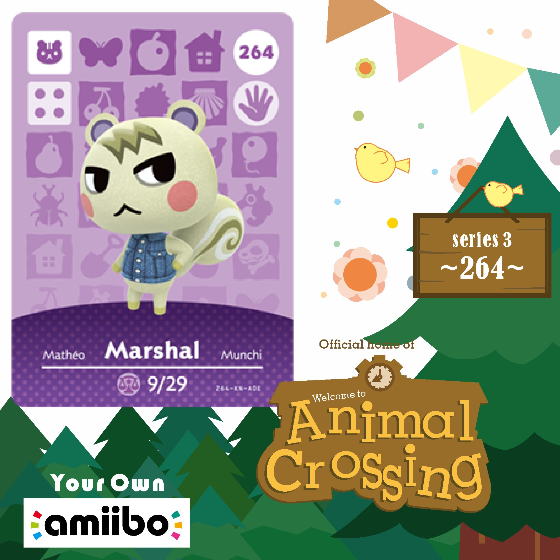 264 Marshal Amiibo Card Animal Crossing Series 3 Marshal Animal Crossing Amiibo Card Work For Ns Games Nfc Card Dropshipping