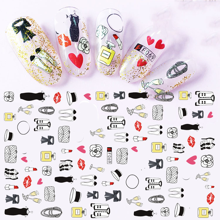 3d Stickers For Nails Lipstick Bags Kiss Love Designs Nail Art Decorations Foil Decals Wraps Manicure Accessories Decoraciones Stickers Decals Aliexpress