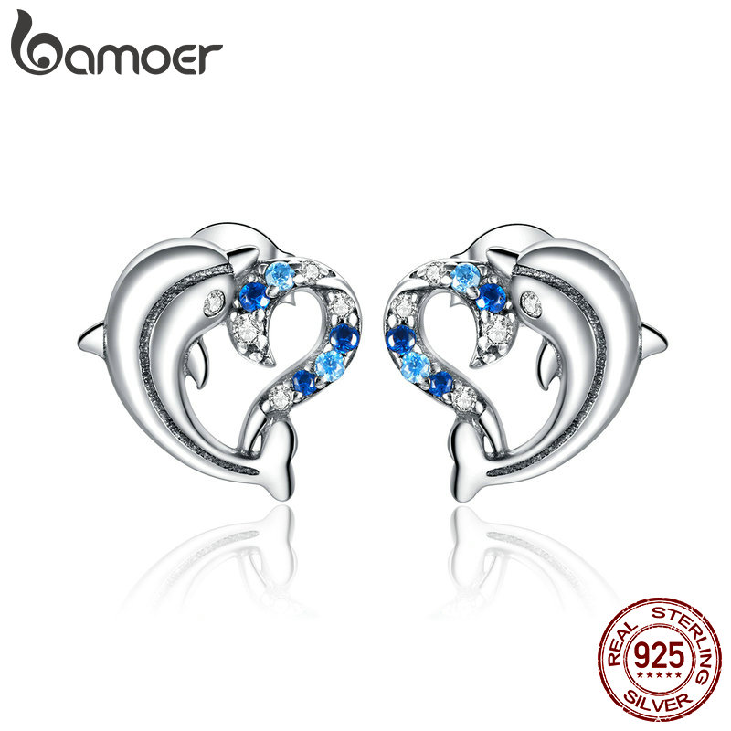 bamoer Dolphin with Heart Jewelry 925 Sterling Silver Stud Earrings for Women Elegant Wedding Statement Jewelry Brincos SCE930