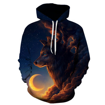 European And American Foreign Trade Popular 3d Wolf Printing Hooded Pocket Pullover Men's Fashion Hooded Casual Men's Hoodie