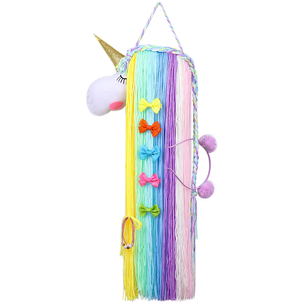 Unicorn Hair Bows Holder Storage Belt For Girls Hair Clips Barrette Hairband Hanging Organizer Strip Holder For Hair Accessories