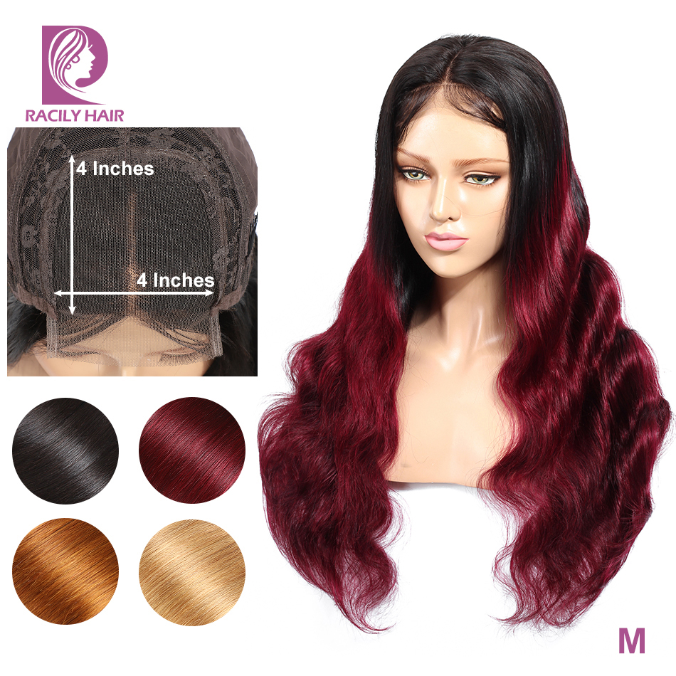 Racily Hair 4x4 Closure Wig Ombre Lace Closure Human Hair Wigs For Black Women Burgundy Red Remy Brazilian Body Wave Hair Wig