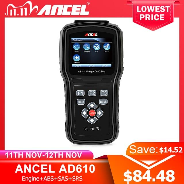 Ancel AD610 النخبة OBD2 سيارة تشخيص OBD 2 الماسح الضوئي محو وسادة هوائية تحطم البيانات ABS SAS كامل محرك السيارات الماسح الضوئي يعمل ل 68 سيارات
