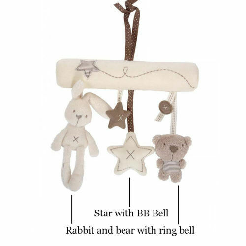 Free Ship Creative Infants Cradle Cute Rabbit Baby Music Hanging Bed Safety Seat Plush Toy Hand Bell Multifunctional Plush Toys