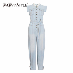 TWOTWINSTYLE Casual Denim Frauen Overall O Neck Sleeveless High Wiast Spitze Up Bownot Lange Lose Overalls Für Weibliche Mode Neue