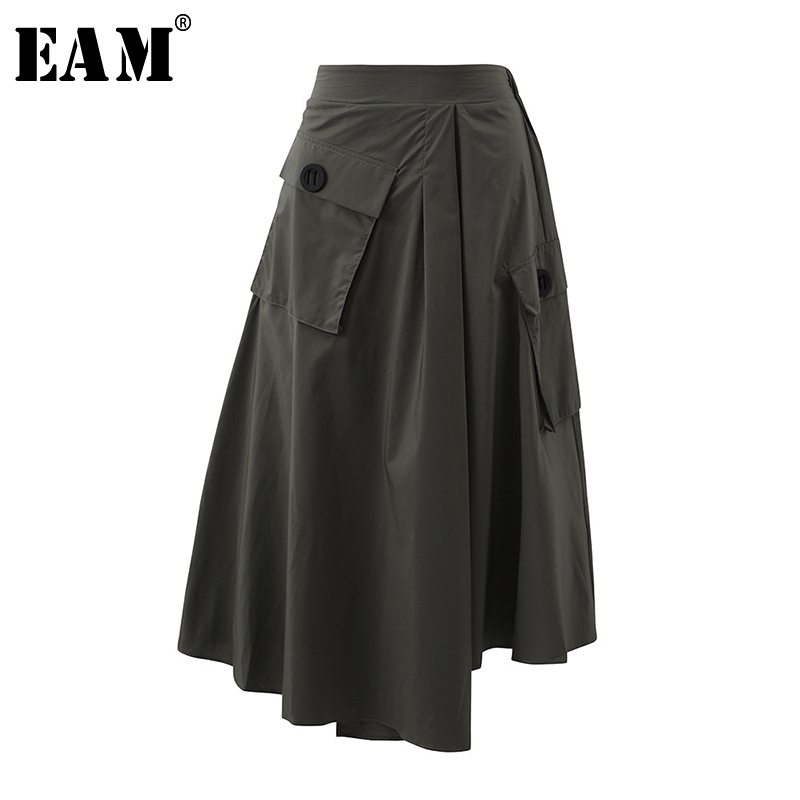 [EAM] High Waist Army Green Pocket Asymmetrical Split Joint Half-body Skirt Women Fashion Tide New Spring Autumn 2020 1S561