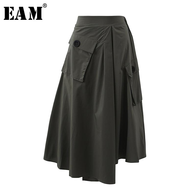 [EAM] High Waist Army Green Pocket Asymmetrical Split Joint Half-body Skirt Women Fashion Tide New Spring Autumn 2020 1S561