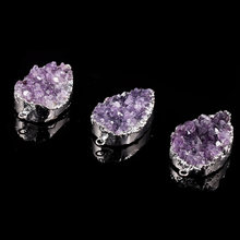 Natural Stone Amethyst Pendant Crystal Cluster Double Hole Connector Charms For DIY Jewelry Making Necklaces Size 25x45mm