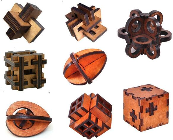 Classic IQ Wooden Brain Teaser Wood Burr Puzzles Game For Adults Kids