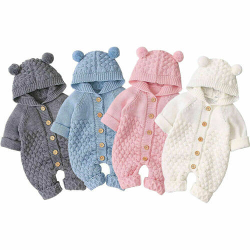 Autumn Baby Girls Knitted Hooded Clothes Cotton Spring Infant Kids 3D Ear Romper Long Sleeve Bodysuits Sunsuits Outfits 0-24M(China)