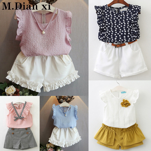 2019 New Summer Girl Suit Floral Seersucker Flying Sleeve Shirt + Bow Waist Skirt Girl Ruffled Sleeve Two-piece Suit
